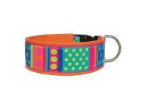 """""""Dots and Stripes"""" - Größe 46 - 49 cm - Breite ca. 5 cm  incl. Lederunterfütterung - Gurtband pink (40 mm) - Leder orange"""