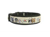 """""""I love my dog"""" - Größe 31,5 - 34,5 cm - Breite ca. 2,7 cm incl. Lederunterfütterung - Gurtband schwarz (20 mm) - Leder schwarz"""