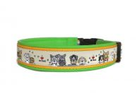 """I love my dog"" - Größe 46 - 49 cm - Breite ca. 3,3 cm incl. Lederunterfütterung - Gurtband dottergelb (25 mm) - Leder apfelgrün"