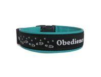 """""""Obedience schwarz-weiss"""" - Größe 41 - 44 cm - Breite ca. 3,2 cm incl. Lederunterfütterung - Gurtband schwarz (25 mm) - Leder türkis"""