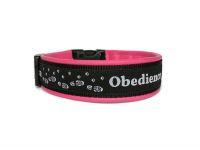 """""""Obedience schwarz-weiss-pink """" - Größe 38 - 41 cm - Breite ca. 3,3 cm incl. Lederunterfütterung - Gurtband schwarz (25 mm) - Leder pink"""