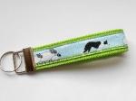 Border Collie grün - ca. 11,5 cm zzgl. Metallöse und Schlüsselring