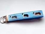 Border Collie blau - ca. 15 cm zzgl. Metallöse und Schlüsselring