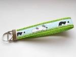 Border Collie grün - ca. 15 cm zzgl. Metallöse und Schlüsselring