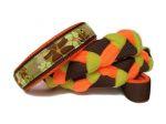 """Agility-Zergelleine """"Dschungel"""" - Halsung bis 46 cm - Breite ca. 3,3 cm incl. Airmesh-Unterfütterung (Halsung und Handschlaufe) - Gurtband braun (25 mm) - Fleece neonorange und hellgrün - Airmesh orange"""
