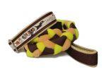 """Agility-Zergelleine """"Sheltiepower braun-beige"""" - Halsung bis 35,5 cm - Breite ca. 3,3 cm incl. Airmesh-Unterfütterung (Halsung und Handschlaufe) - Gurtband braun (25 mm) - Fleece beige und hellgrün - Airmesh beige"""