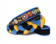 Agility-Zergelleine zum Überziehen - Superhero blau-gelb - Halsung bis 45 cm
