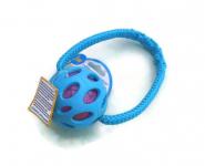 JW Crackle-Ball blau - Größe Medium (Balldurchmesser 7,6 cm) mit Band