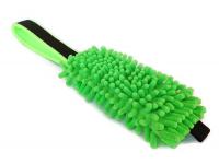Mopp-Zergel apfelgrün mit schwarzem  Gurtbandgriff und Unterfütterung aus neongrünem Fleece - Länge Moppteil ca. 20 cm - Grifflänge ca. 20 cm