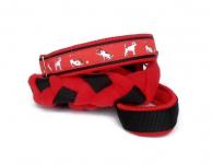 Agility-Zergelleine zum Überziehen - Terrierpower rot - Halsung bis 34,5 cm