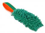 Mopp-Zergel smaragdgrün mit smaragdgrünem  Gurtbandgriff und Unterfütterung aus neonorangem Fleece - Länge Moppteil ca. 16 cm - Grifflänge ca. 18 cm