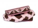 Agility-Zergelleine zum Überziehen - Pfötchen braun-rosa - Halsung bis 44 cm