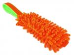 Mopp-Zergel neonorange mit orangefarbenem  Gurtbandgriff und Unterfütterung aus neongrünem Fleece - Länge Moppteil ca. 21 cm - Grifflänge ca. 20 cm