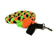 Fleece-Zergelleine mit Karabiner (ohne Handschlaufe) - Gesamtlänge ca. 1,10 m (incl. Karabiner) - Fleece schwarz, neonorange und neongrün
