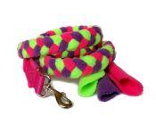 Fleece-Zergelleine mit Karabiner (ohne Handschlaufe) - Gesamtlänge ca. 1,30 m (incl. Karabiner) - Fleece pink, lila und neongrün