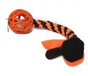 Gitterball orange (Vollgummi) 9 cm mit Fleecezergel in schwarz-neonorange (Länge ca. 33 cm incl. Fransen)