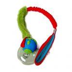 Orbeeball in blau-grün mit Fell und ruckdämpfendem Bungeegriff - Größe S (Balldurchmesser 5,5 cm) - von Dogscraft