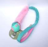 Orbeeball in mint-rosa mit Fell und ruckdämpfendem Bungeegriff - Größe S (Balldurchmesser 5,5 cm - Special Puppy-Edition = extra weich) - von Dogscraft